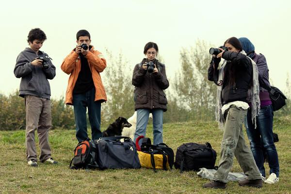 Fotografie din timpul sedintei foto peisaj cu cursanti